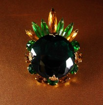 Vintage Navette Brooch LARGE green juliana rhinestone Flower Pin wedding... - $95.00