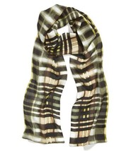 Silk Scarf Echo Design Brushed Plaid Skinny $45... - $18.33