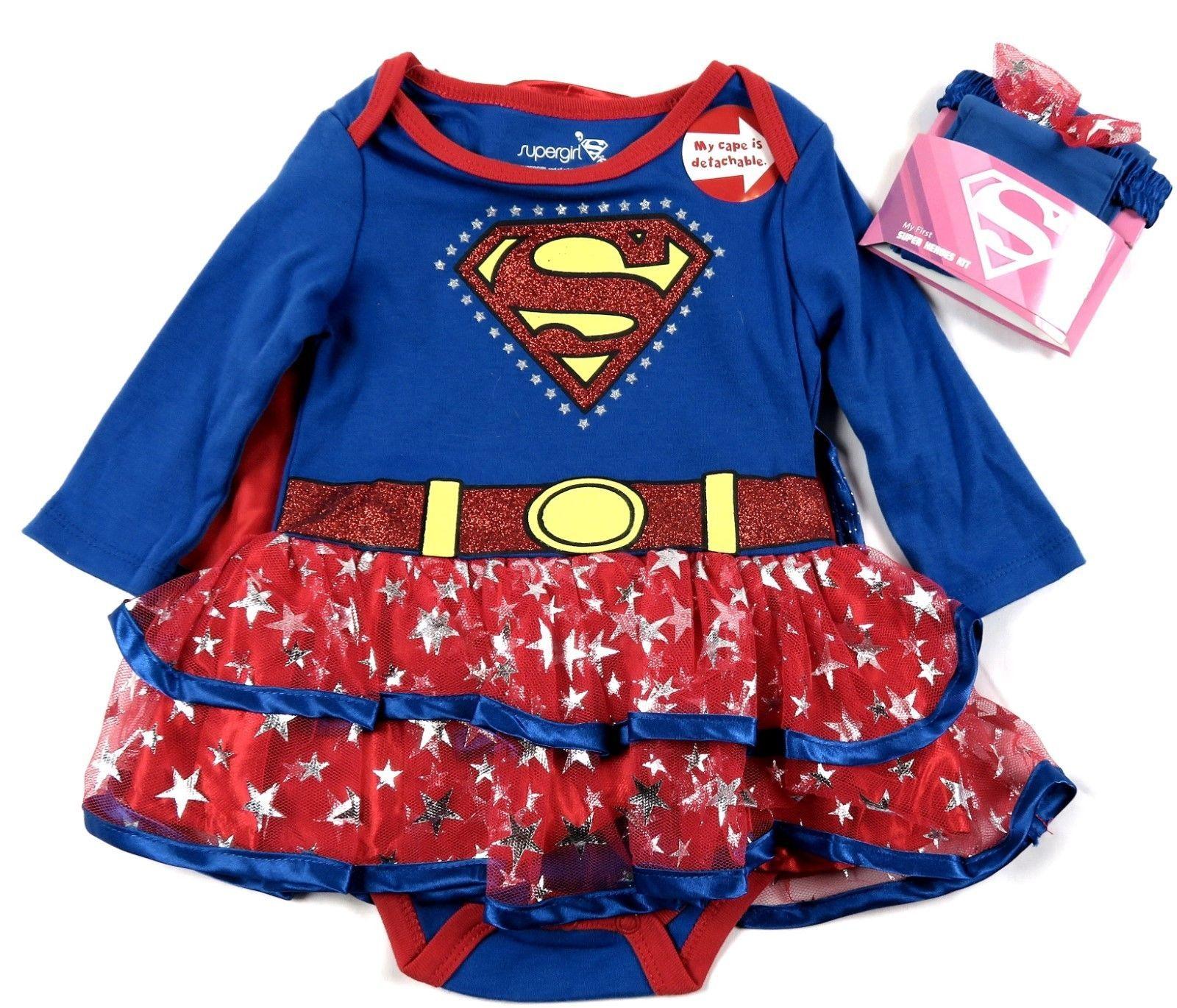 Infant Girl's SuperGirl Creeper Tutu Dress Detachable Cape Tights Headband Baby