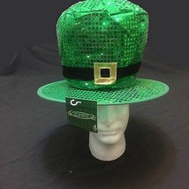 St Patricks Day Green JUMBO SEQUIN LEPRECHAUN TOP HAT Adult Costume Acce... - $8.88