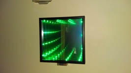 Led electric green infinity mirror 13in x 13in - $45.00