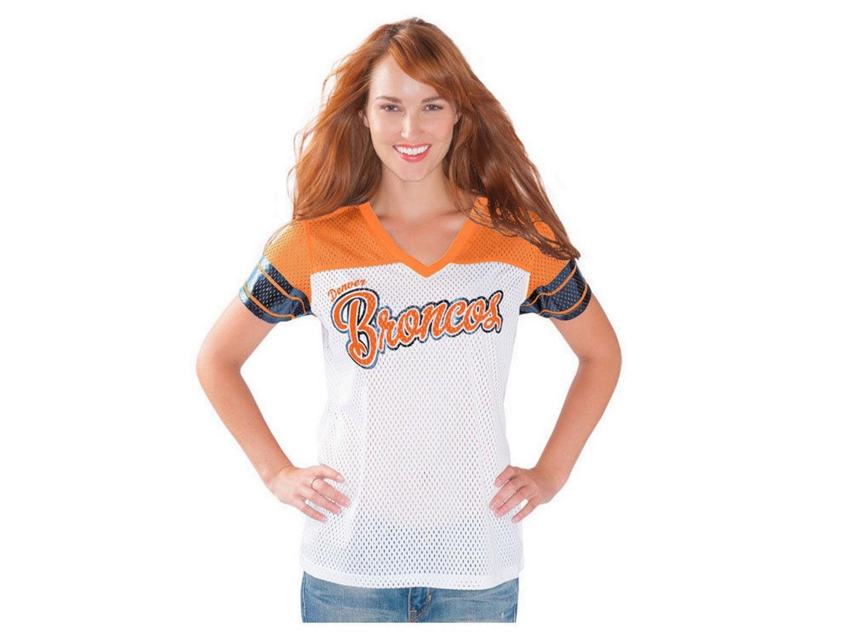 Women's Denver Broncos Shirt Pass Rush NFL Team Apparel Mesh Jersey Tee