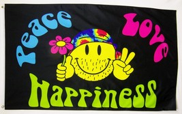Peace Love & Happiness Happy Face Flag 3' X 5' Indoor Outdoor Banner - $9.95