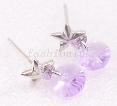 Women Girl Pink Purple Swarovski Element Crystal White Gold Plated Drop Earrings - $13.94
