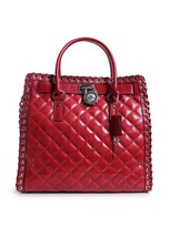 Michael Kors Hamilton Hippie Grommet Large North South Tote Quilted Dark... - $315.80