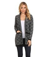 High Secret Women'sd Black and Gray Acrylic Geometric-Print Open Front C... - £47.89 GBP