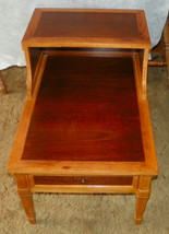 Walnut Pecan Step End Side Table / End Table by Drexel - $399.00