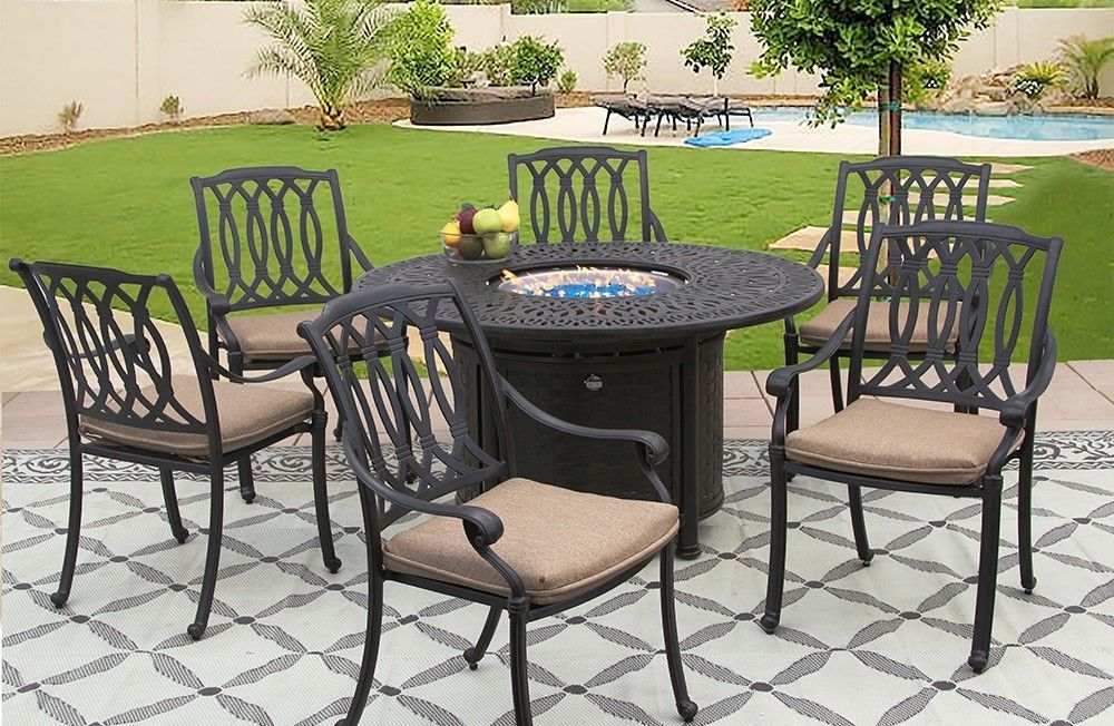 PATIO 7PC SET 52 INCH ROUND DINING FIRE TABLE SERIES 2000