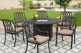 PATIO 7PC SET 52 INCH ROUND DINING FIRE TABLE SERIES 2000 - $4,315.41