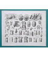 MILITARY Arms Armor Greeks Roman Shields Swords Cuirasses - 1844 Superb ... - $19.80