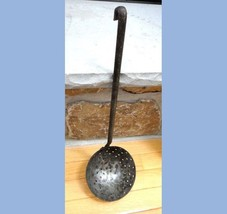 antique early WROUGHT IRON LADLE SIFTER~CIVIL WAR~ blacksmith fireplace ... - $84.95