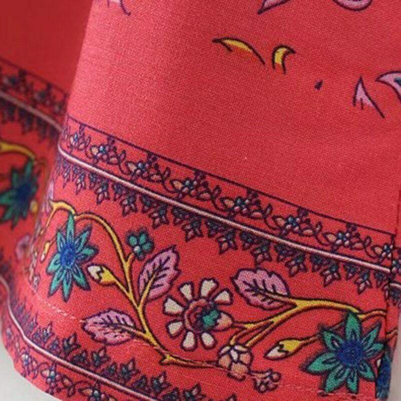 Boho Summer Vintage Floral Bird Print Mini Dress Short Sleeve V Neck Beach Dress