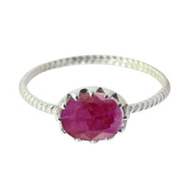 Genuine Gems Oval Faceted Indianruby ring - Solid Silver Red Indianruby ... - $14.99