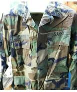 VTG Woodland BDU Shirt Sz Medium Regular Issued Button Up Named L4 - $29.69