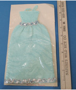 Handmade Knitted Barbie Doll Clothes Green Evening Gown Dress Silver Seq... - $12.86