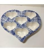 Ceramic Heart Shaped Muffin Pan Baking Dish Stoneware Cupcake Blue Sponge - $24.18