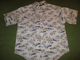 52815cc26 HAWAIIAN AUTOMOBILE Palm Short Sleeve Button Beige Puritan Shirt W Pocke...  - $14.43