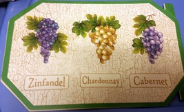 """Set Of 2 Kitchen Vinyl Non Clear Placemats (18"""" X 12"""") 3 Types Of Grapes By Bh - $8.90"""