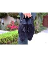 Handmade Men Navy Blue Suede Tassels Shoes, Men Suede Leather Moccasins ... - $169.99