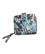 Vera Bradley Java Blue Brown Ladies Wallet Zip Around Bifold Wallet Retired - $12.95