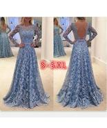 Lace Formal Dress Backless Prom Dresses Long Sleeves Full length Dress S... - $19.00