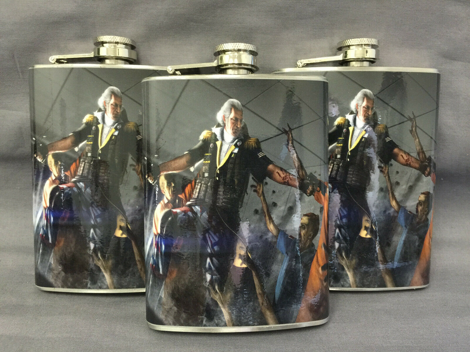 Set of 3 George Washington Zombies D 9 Flasks 8oz Stainless Steel Hip Drinking