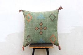 Green Color Cactus Silk Inspired Handmade Linen Cushion  Cover Moroccan ... - £22.90 GBP