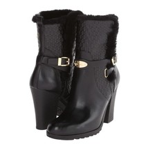 MICHAEL KORS Black Embossed Genuine Leather Breck Ankle Boots with Fur T... - $170.53