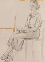 Jack Green - 1962 Graphite Drawing, Girl with a Book - $41.23