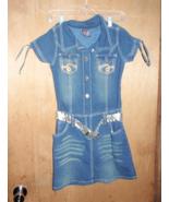 2B REAL GIRL'S STRETCH DENIM DRESS WITH BELT SIZE 14-16  NEW - $9.99