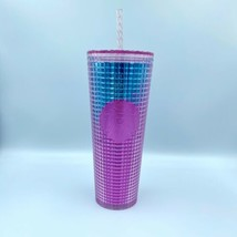 New Limited Edition Starbucks 2021 Summer Pink Blue Gradient Grid Tumble... - $66.49