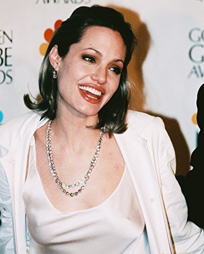 Angelina Jolie 16X20 Canvas Giclee In White Dress Smiling