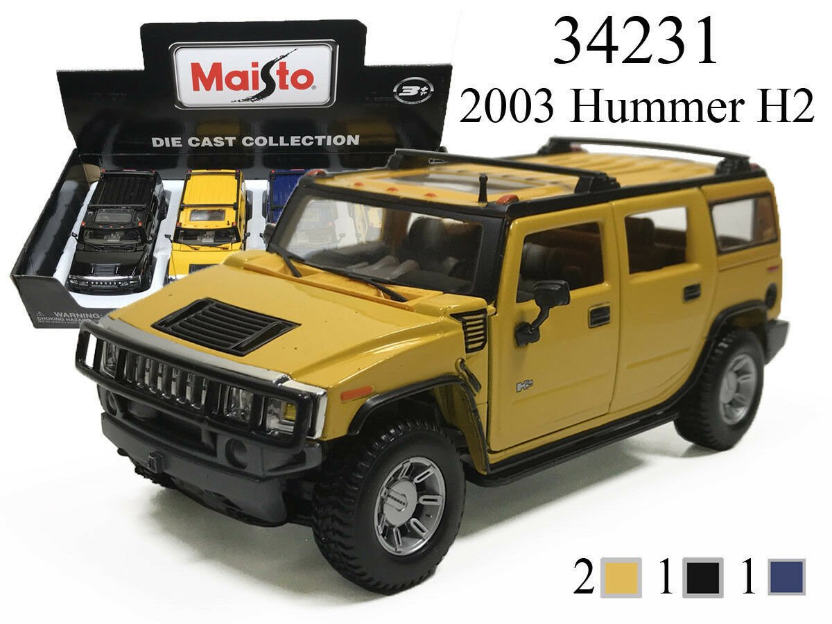 New MAISTO 1/27 - 2003 GM HUMMER H2 DIECAST CAR TRUCK SUV CHOOSE COLOR 34231