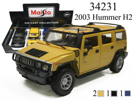 New MAISTO 1/27 - 2003 GM HUMMER H2 DIECAST CAR TRUCK SUV CHOOSE COLOR 3... - $19.25