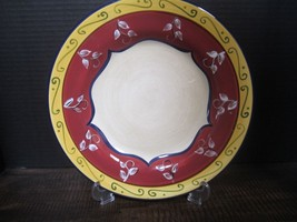 Pier 1 Vallarta Dinner Plate Red Yellow Blue Bands Flowers Scrolls replacements - $21.23
