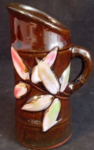 Occupied Japan Porcelain Pitcher Mini Brown Bamboo Pitcher Toothpick Holder - $12.86