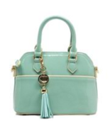 Fiore Mint Patent Leather Tassel Mini Satchel/Crossbody Bag - FINAL MARK... - $33.90