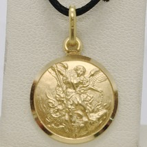 SOLID 18K YELLOW GOLD SAINT MICHAEL ARCHANGEL 15 MM MEDAL, PENDANT MADE ... - $287.00