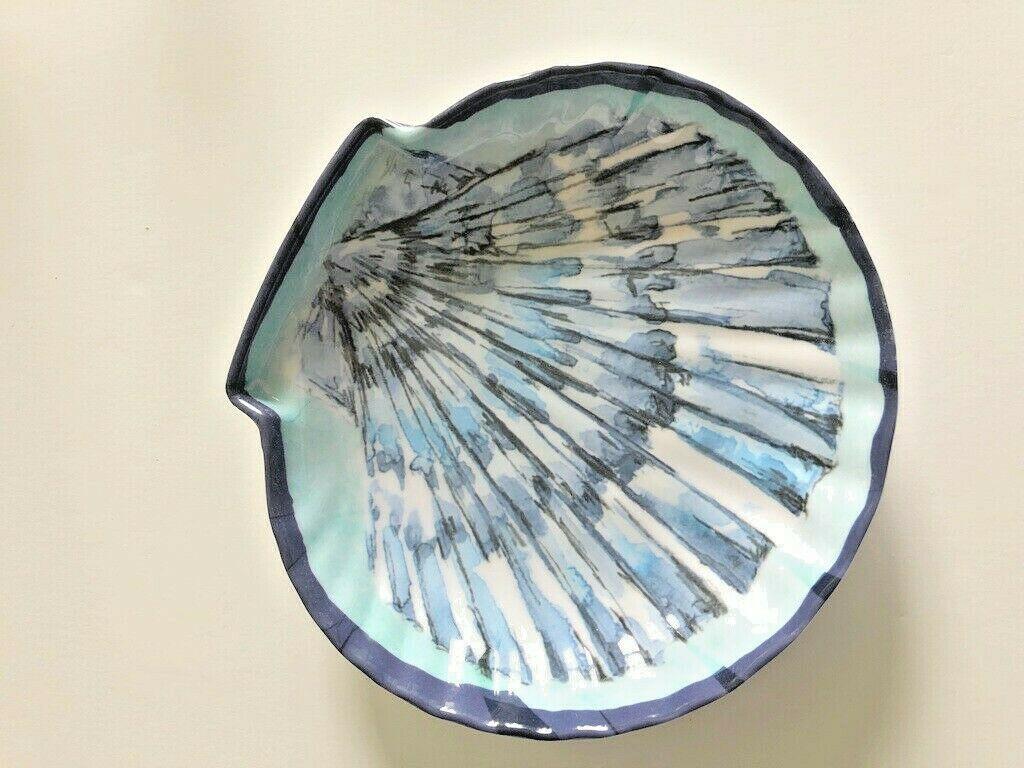 "Salad Appetizer Plates Blue Shell Shaped Melamine 6.5""x7""x1.5"" Set of 4"
