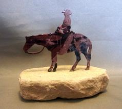 Lazart Cowboy  Sculpture ~ Metal Embedded in Sa... - $5.99