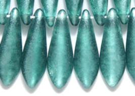 Large Dagger Czech Bead, Pale Green Satin 5x16mm 50 glass spear sage - $6.25