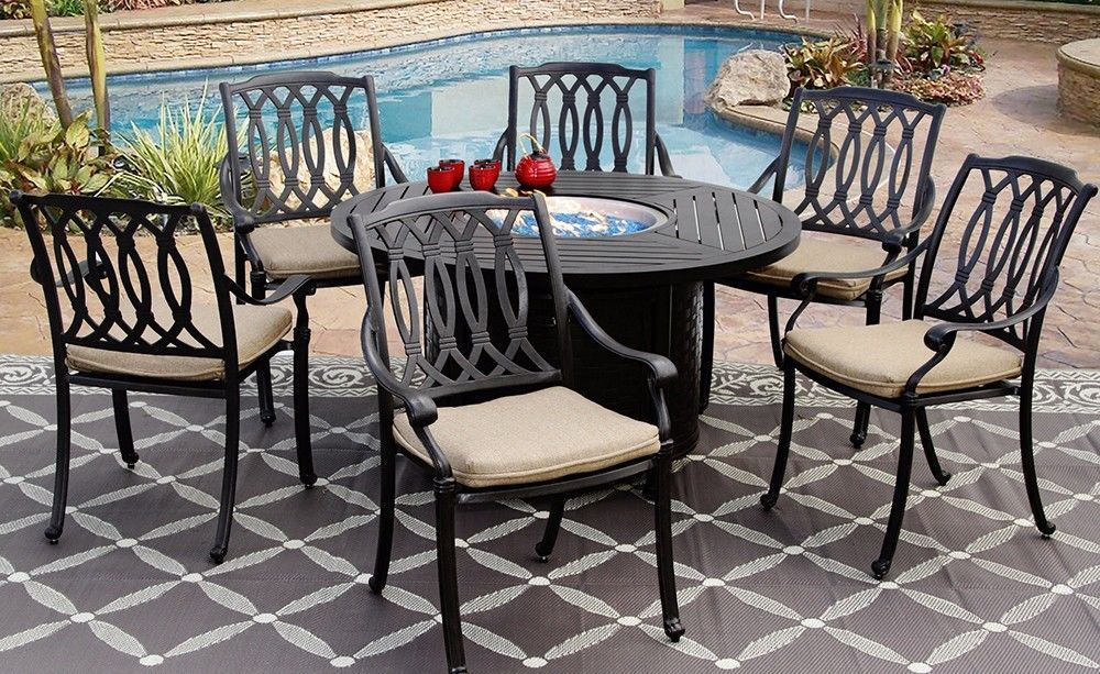 PATIO 7PC DINING SET 50 INCH ROUND DINING FIRE TABLE SERIES 4000