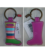 Coach Leather Stripe Rainboot Rain Boot Keychai... - $34.00