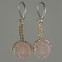 Iridescent Pink Crackle Lever - $18.50