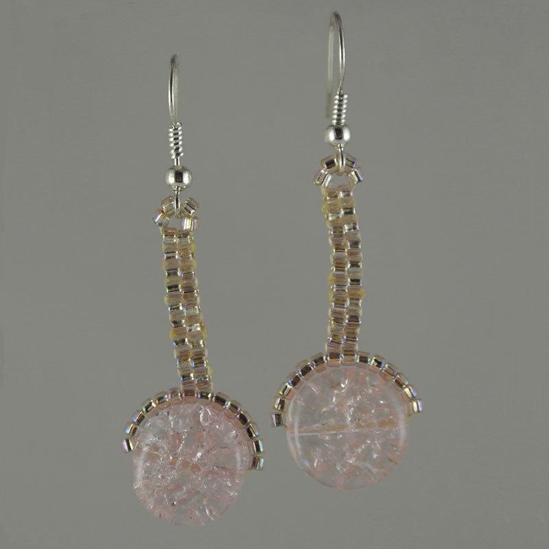 Earing  iridescent pink  crackle  ball hook
