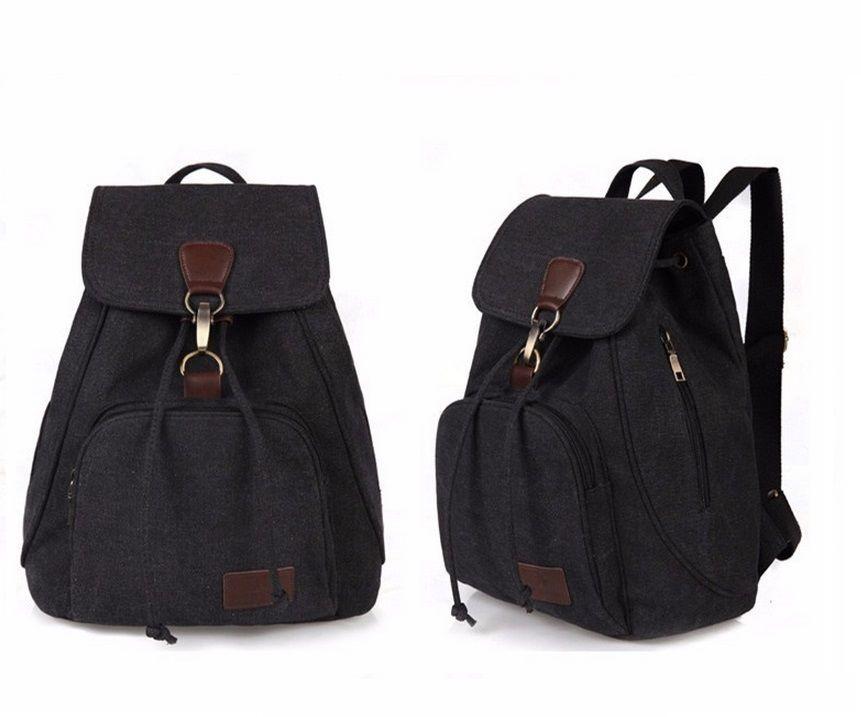 Brand vintage casual women canvas backpack drawstring bag ...