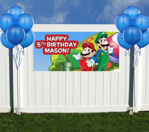 Super mario brothers birthday banner backdrop custom for Backdrop decoration for birthday