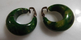 "Vintage Bakelite 1 3/8"" Creamed Spinach Clip Hoop Earrings Simichrome Te... - $124.99"