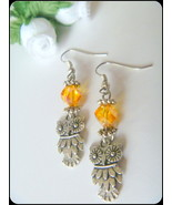 Handcrafted Amber Crystal Earrings with Owl Charms - $9.99