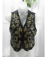Amanda Smith Vtg Black, Gold & Silver Pure Silk... - $45.99